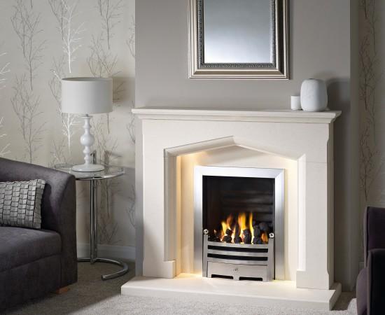 Swinford Agean Limestone with gas fire