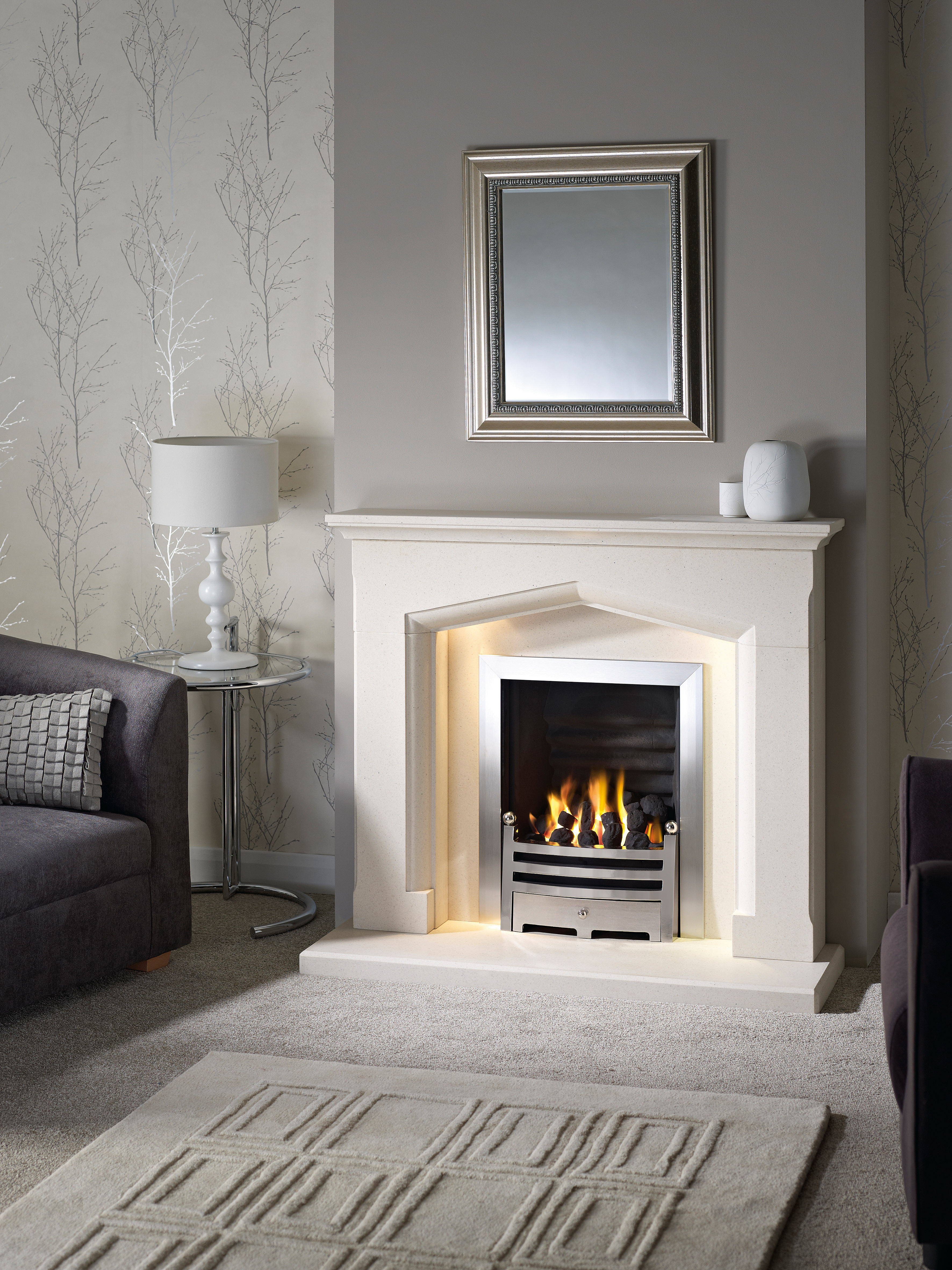 Swinford Agean Limestone With Gas Fire Fireplaces